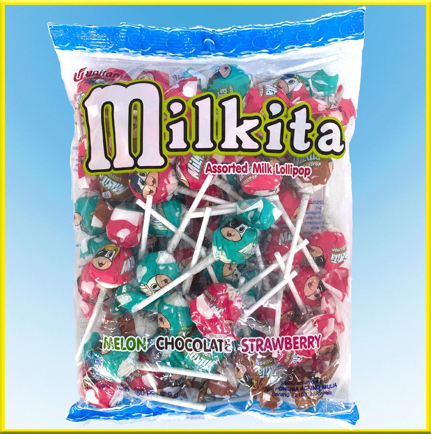 Kẹo sữa Milkita vị (dưa gang, dâu, sôcôla) – Gói 50 que