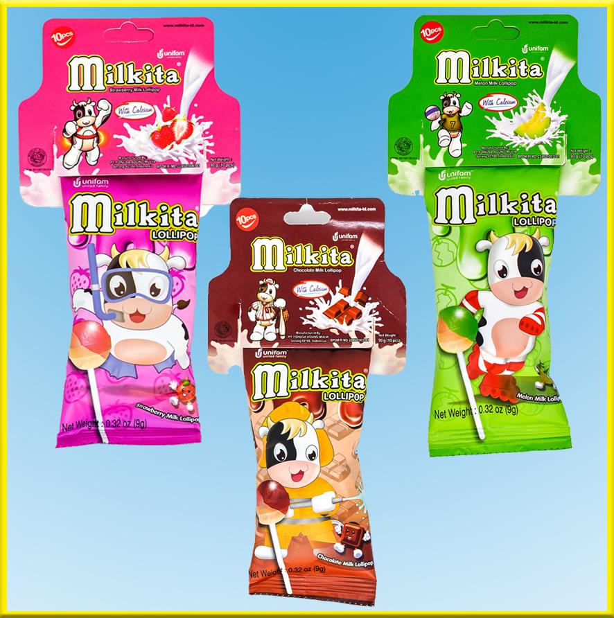 Kẹo sữa hiệu Milkita vị (dâu, sô cô la, dưa gang) - Dây 30 que